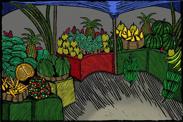 Linoleum Mixed Media - The Fruit Stand by Marlon Vassell