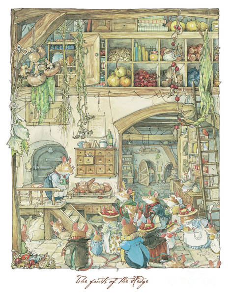 Wall Art - Drawing - The Fruits Of The Hedge by Brambly Hedge