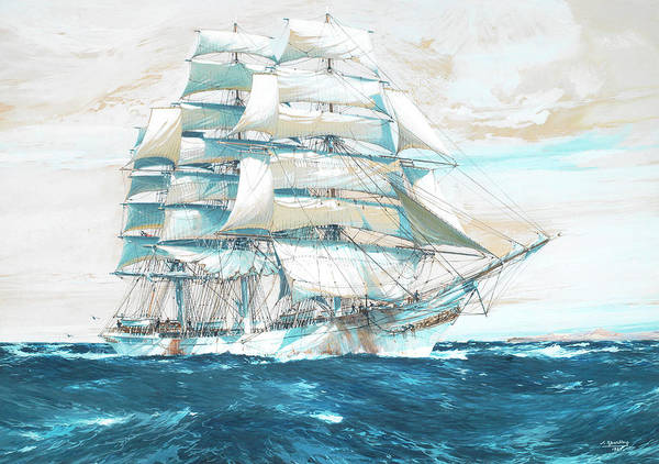 Wall Art - Painting - The Full-rigged Passenger Ship Thomas Stephens by Jack Spurling