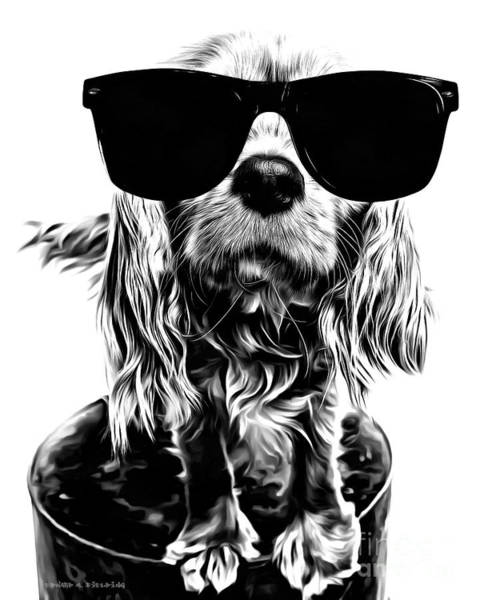 King Charles Spaniel Painting - The Future's So Bright, I Gotta Wear Shades by Edward Fielding