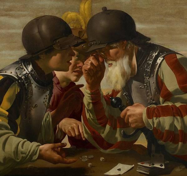Wall Art - Painting - The Gamblers by Hendrick Ter Brugghen
