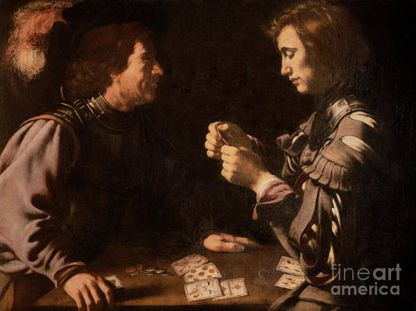 Michelangelo Painting - The Gamblers by Michelangelo Caravaggio