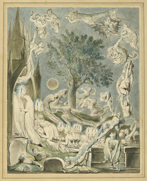 William Blake Drawing - The Gambols Of Ghosts According With Their Affections Previous To The Final Judgement by William Blake