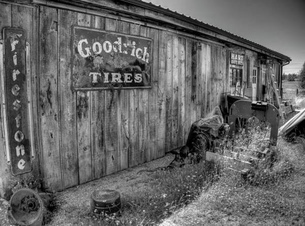 Photograph - The Garage Bandw by Lawrence Christopher