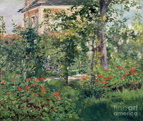 Leafy Painting - The Garden At Bellevue by Edouard Manet