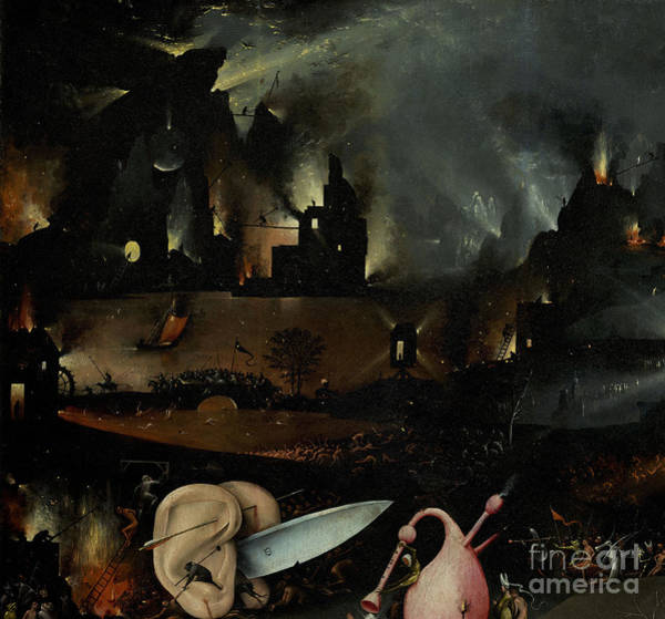 Wall Art - Painting - The Garden Of Earthly Delights, Detail Of Right Panel Showing Hell by Hieronymus Bosch