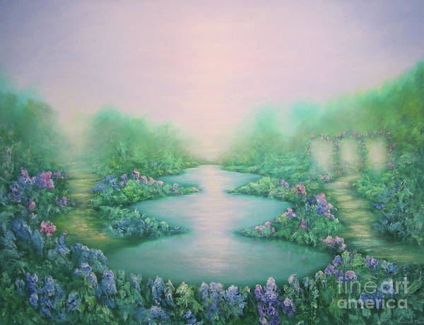 Reflecting Painting - The Garden Of Peace by Hannibal Mane