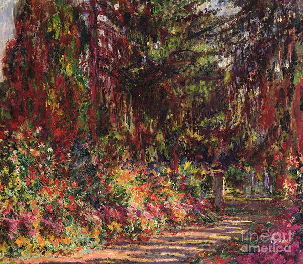 Plant Reproduction Painting - The Garden Path At Giverny by Claude Monet