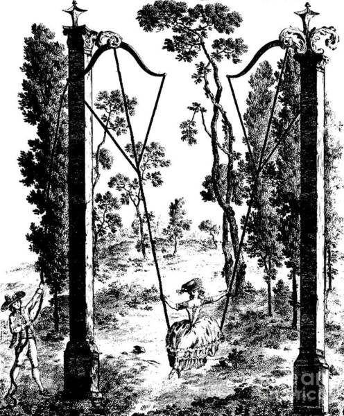 Flirting Drawing - The Garden Swing At Rambouillet by French School