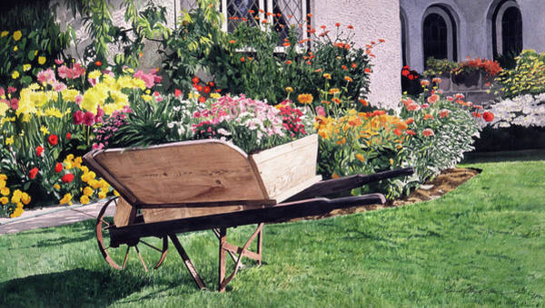 Painting - The Gardeners Wheelbarrow by David Lloyd Glover