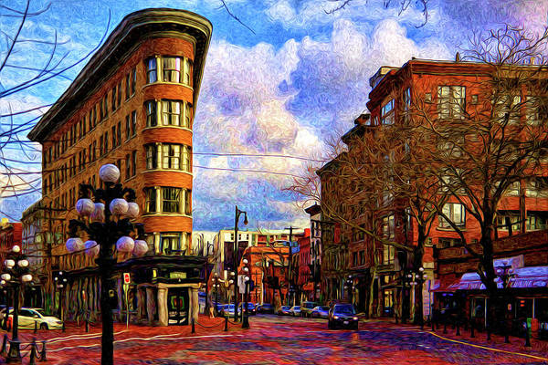 Vancouver Digital Art - The Gastown Flat Iron Building by Julius Reque
