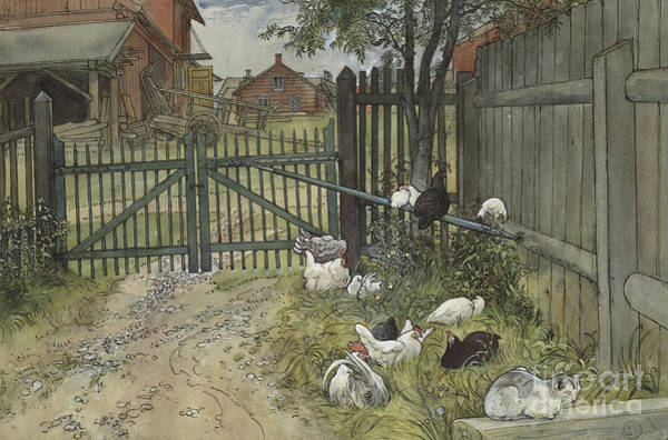 Barnyard Animal Painting - The Gate by Carl Larsson