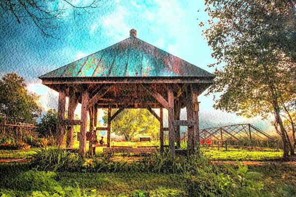 Photograph - The Gazebo In Watercolors by Debra and Dave Vanderlaan