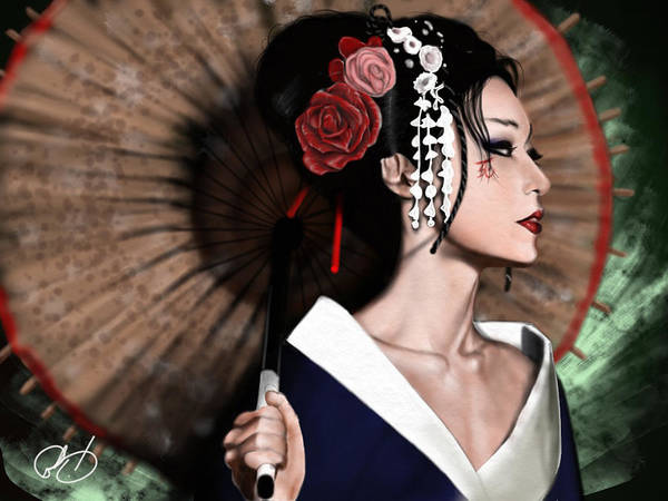 Japan Painting - The Geisha by Pete Tapang