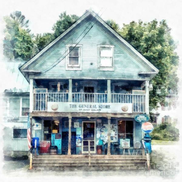 Remote Digital Art - The General Store Of East Calais Vermont Watercolor by Edward Fielding
