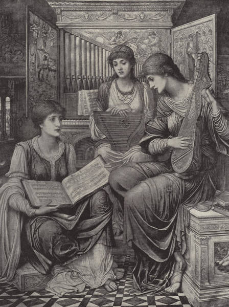Strum Wall Art - Drawing - The Gentle Music Of The Bygone Day by John Melhuish Strudwick