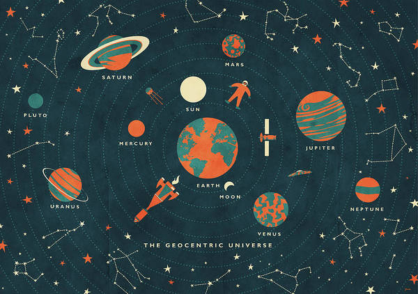 Astronaut Drawing - The Geocentric Universe by Daviz Industries