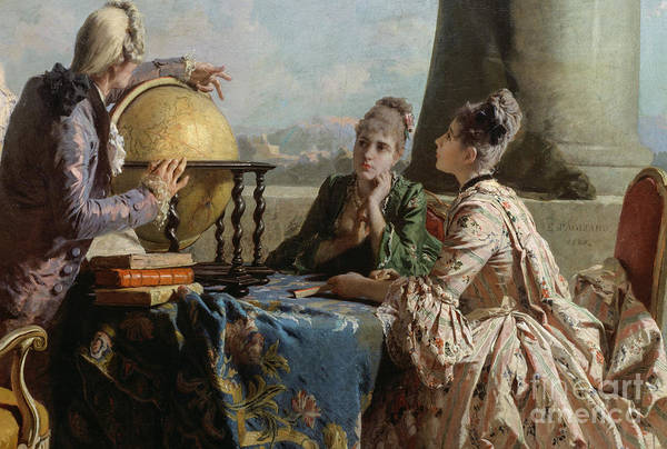 Educating Wall Art - Painting - The Geography Lesson, 1880 by Eleuterio Pagliano