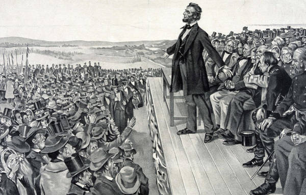 Platform Painting - The Gettysburg Address by American School
