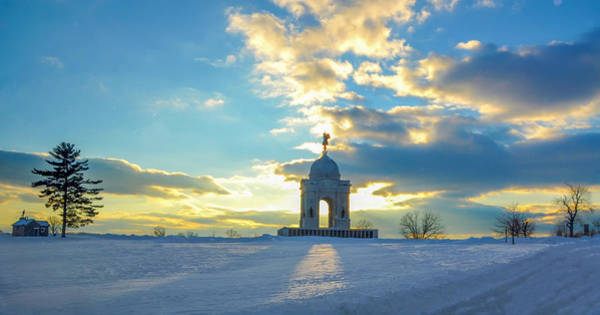 Gettysburg Battlefield Photograph - The Gettysburg Memorial At Sunset by Bill Cannon