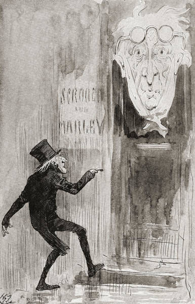 Wall Art - Drawing - The Ghostly Knocker. It Was Not Angry by Vintage Design Pics