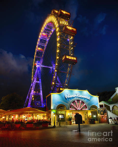 Wall Art - Photograph - The Giant Ferris Wheel Of Vienna At Night by George Oze