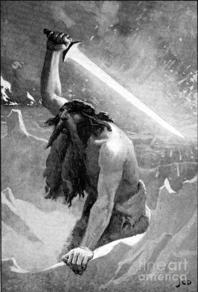 Satanism Digital Art - The Giant With The Flaming Sword by Frederick Holiday