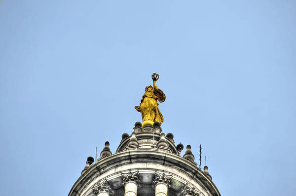 Wall Art - Photograph - The Gilded Statue Of Civic Fame Atop The Manhattan Municipal Building by Randy Aveille