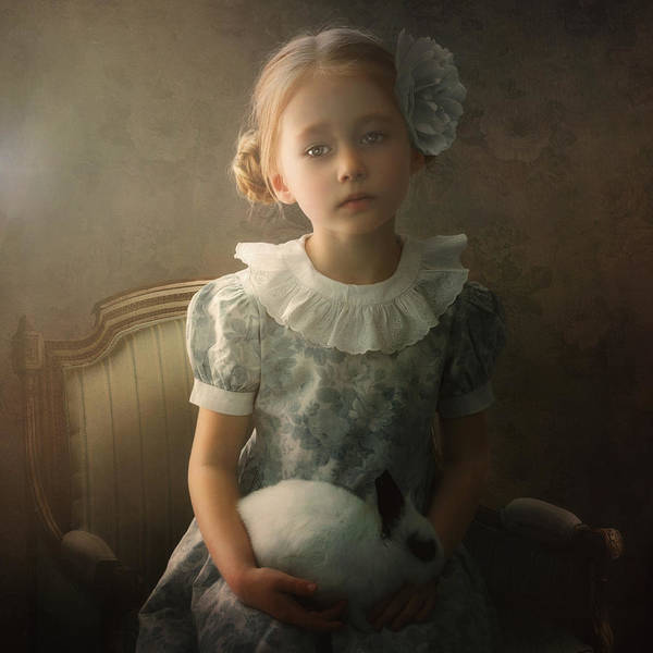 Sad Digital Art - The Girl And The Rabbit by Cindy Grundsten