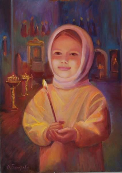 Pray For Love Wall Art - Painting - The Girl In Church by Irina Bakhareva