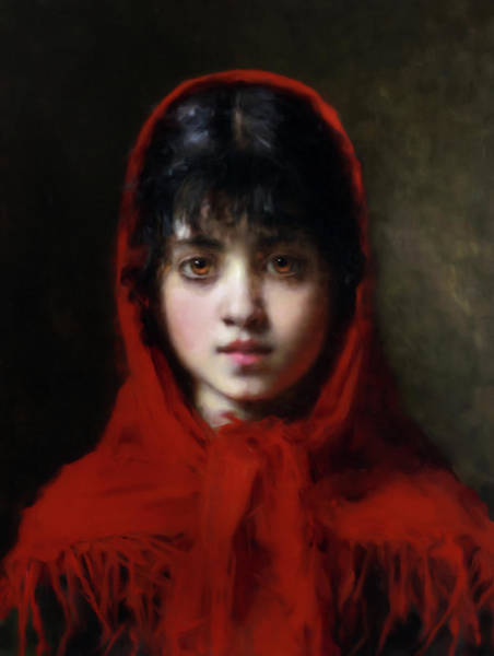 Mixed Media - The Girl In The Red Shawl by Isabella Howard