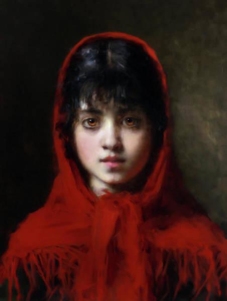 Clothing Mixed Media - The Girl In The Red Shawl by Georgiana Romanovna