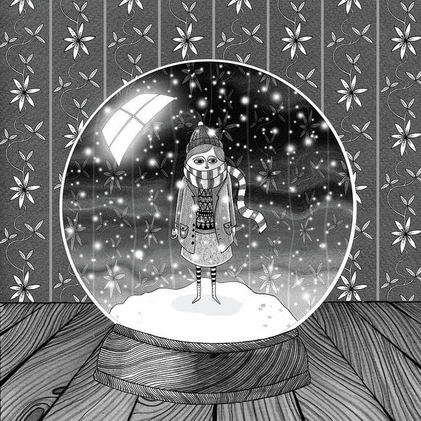 Scarf Wall Art - Drawing - The Girl In The Snow Globe  by Andrew Hitchen