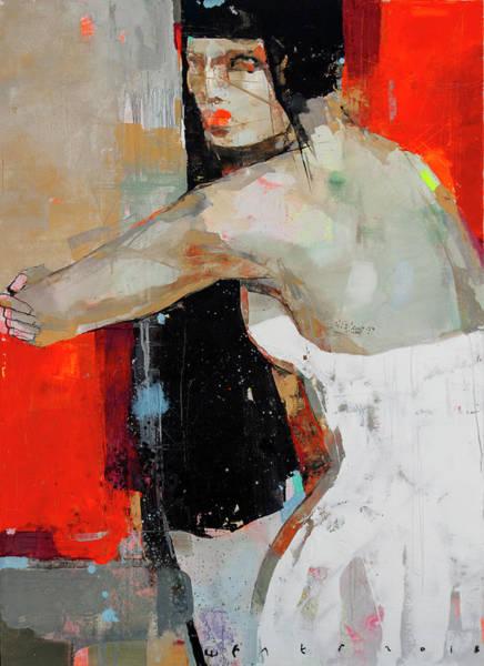Wall Art - Painting - The Girl Sitting Next by Viktor Sheleg