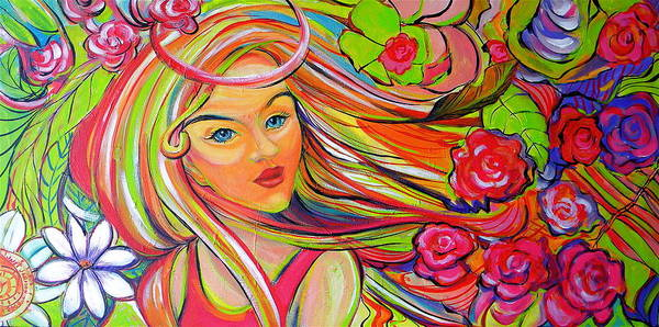 Painting - The Girl With The Flowers In Her Hair by Jeanette Jarmon