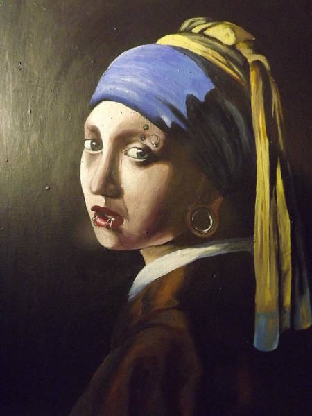 Lip Piercing Wall Art - Painting - The Girl With The Gauged Earring by Rachel Parry