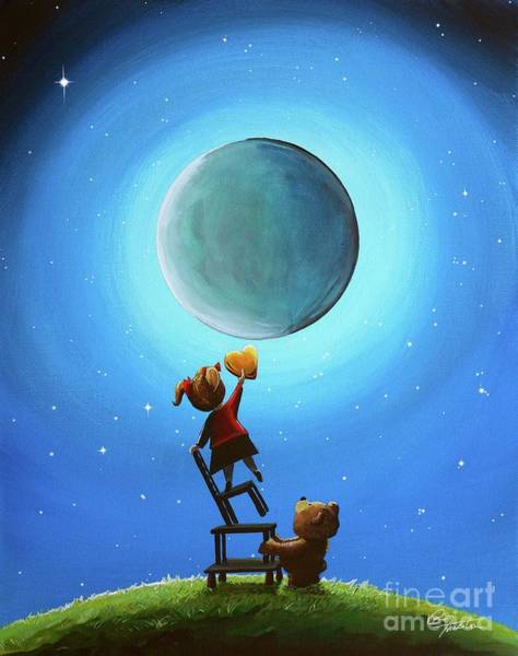 Full Moon Painting - The Girl With The Golden Heart by Cindy Thornton
