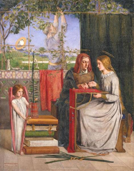 Gabriel Painting - The Girlhood Of Mary Virgin by Dante Gabriel