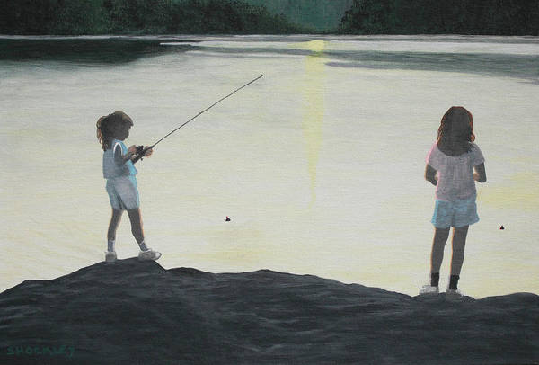 Wall Art - Painting - The Girls At The Lake by Candace Shockley