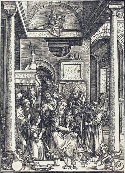 Drawing -  The Glorification Of The Virgin by Albrecht Durer