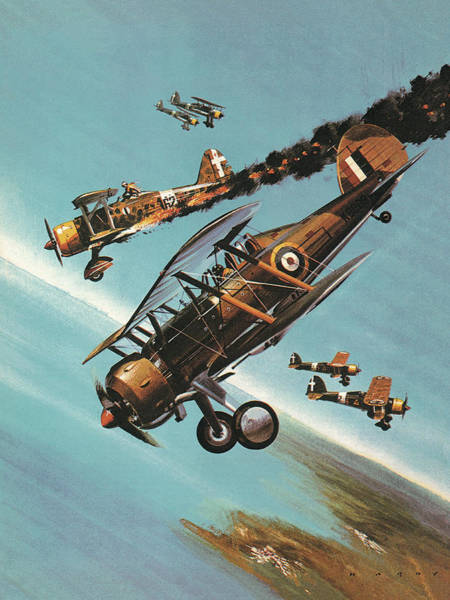 Wall Art - Painting - The Gloster Gladiator  Squadron Leader Pattle by Wilf Hardy