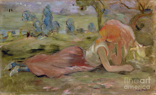 The Shepherdess Wall Art - Painting - The Goatherd by Berthe Morisot