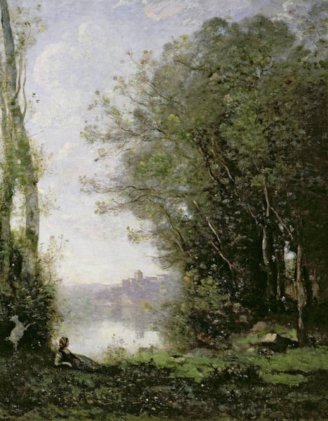 The Shepherdess Wall Art - Painting - The Goatherd Beside The Water  by Jean Baptiste Camille Corot