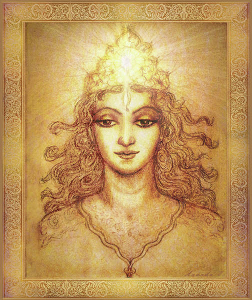 Wall Art - Mixed Media - The Golden Angel With Crown Of Light by Ananda Vdovic
