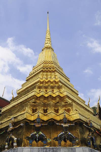 Wall Art - Photograph - The Golden Chedi At Wat Phra Kaew In Bangkok by Liz Pinchen