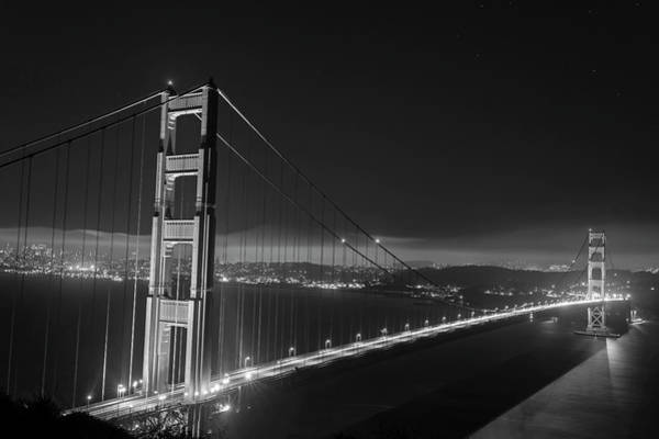 Photograph - The Golden Gate Bridge In San Francisco At Night Black And White by Toby McGuire