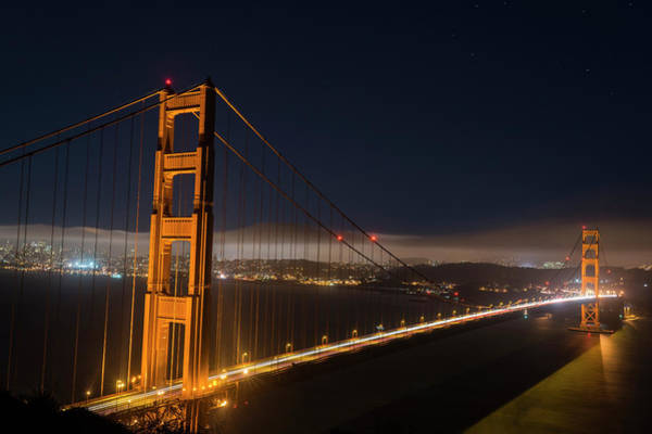 Photograph - The Golden Gate Bridge In San Francisco At Night by Toby McGuire