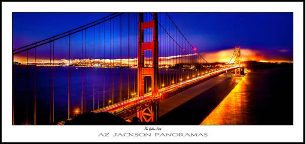 Suspension Bridge Photograph - The Golden Path Poster Print by Az Jackson