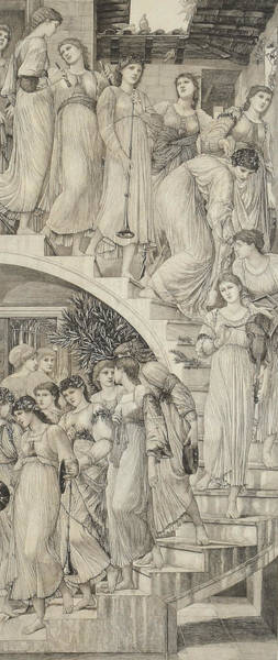 Wall Art - Drawing - The Golden Stairs by Sir Edward Coley Burne-Jones