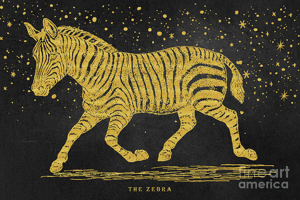 Mixed Media - The Golden Zebra by Angela Doelling AD DESIGN Photo and PhotoArt